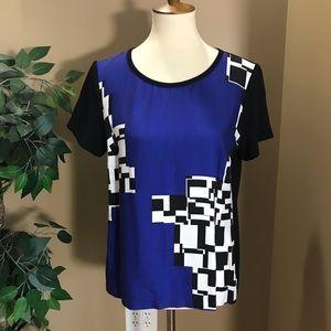 Trina Turk Blue & Black Abstract Geometric Blouse